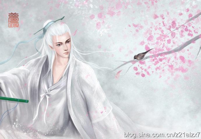 手繪古裝白衣美男高清