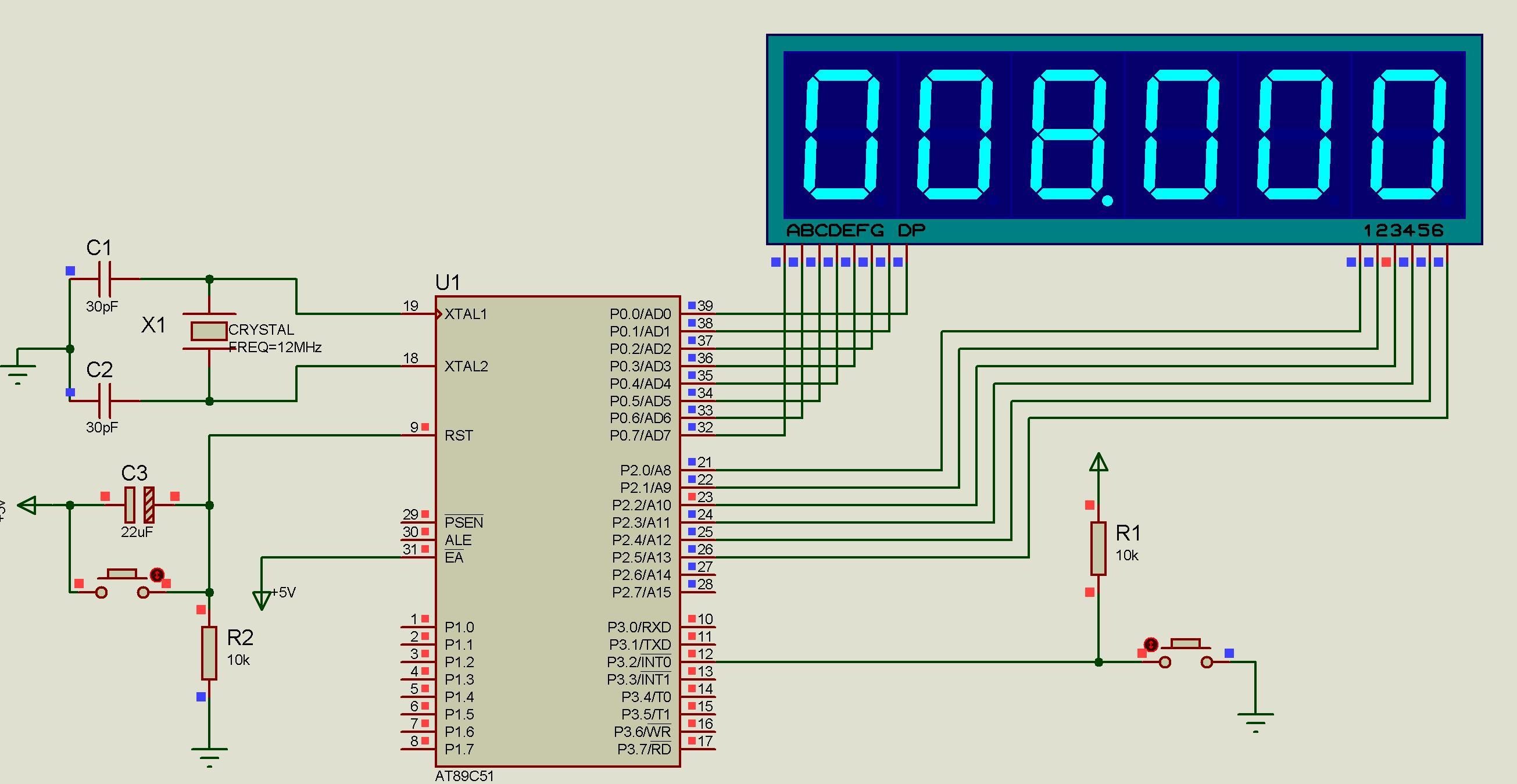 急求一份6位数码管显示的89c51单片机电子秒表设计 程序,电路图给我呀图片