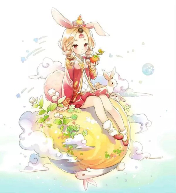 嫦娥和玉兔图片,动画版,q版,不要低于五张.