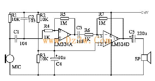 用集成运放设计一个两级放大电路,要求电压放大倍数au>=20,采用lm324.