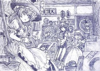 钢笔,黑笔的手绘图 内容是游戏或动漫 一定一定要顶级