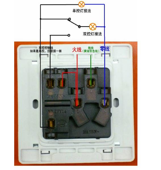 公牛五孔一开插座开关控制灯接线图解法是什么?