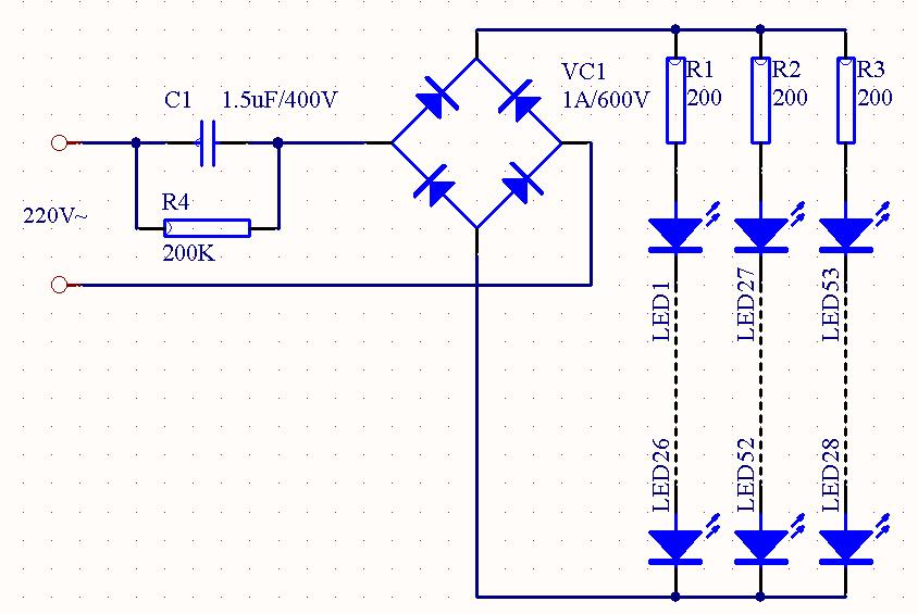 求阻容降压电路可带26串3并led灯珠原理图