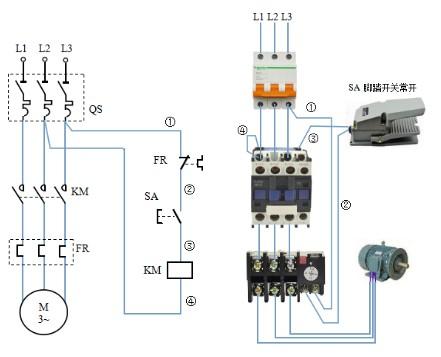 开关,交流接触器,热过器,指示灯,各一个,求实物接线图