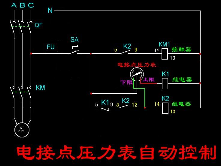 一个电接点压力表如何控制补水泵补水,求电路图,并说明接线原理