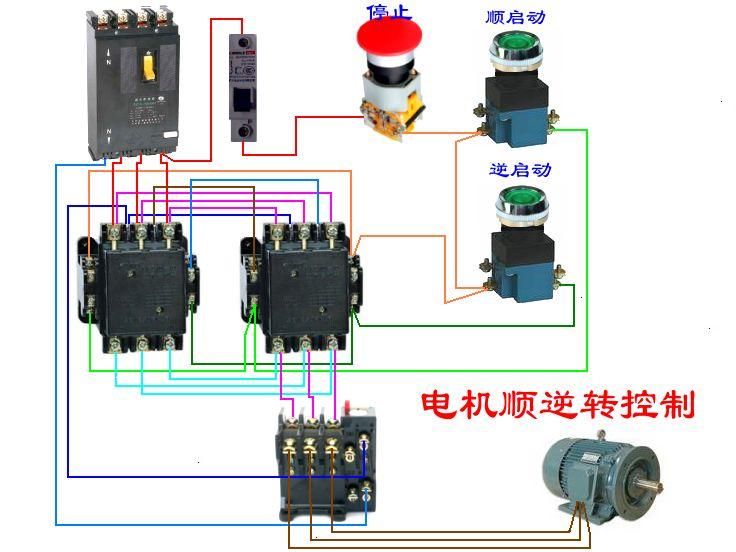 三相异步电动机正反转控制 如果有空开1个,热继电器1个,接触器2个