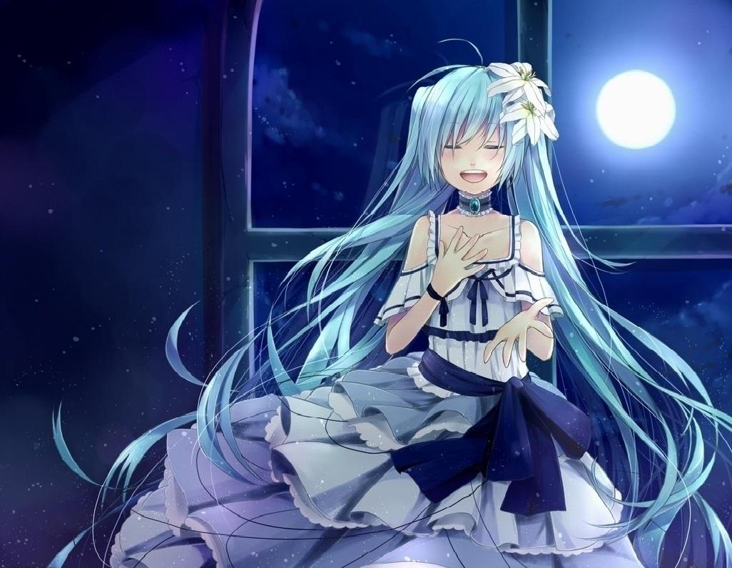 女孩裙子,头发上有百合花的图片蓝色女生发型动漫扎辫子图片