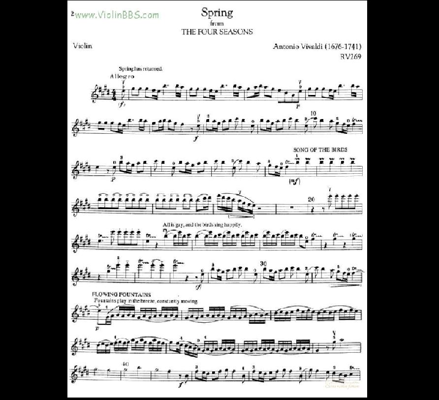 求四季之春小提琴乐谱