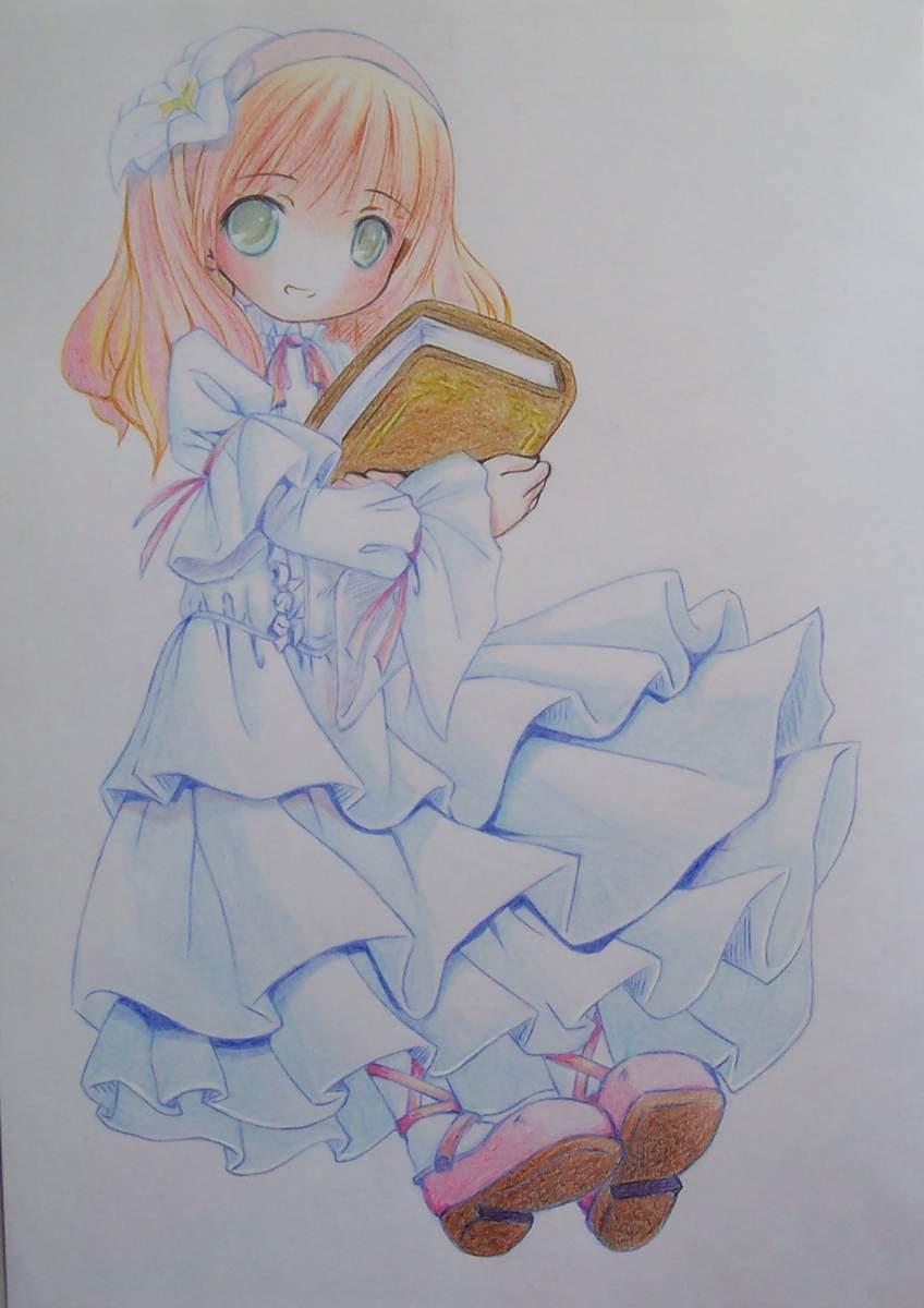 求卡通图片一张,一个小女孩抱着一本书的卡通图片