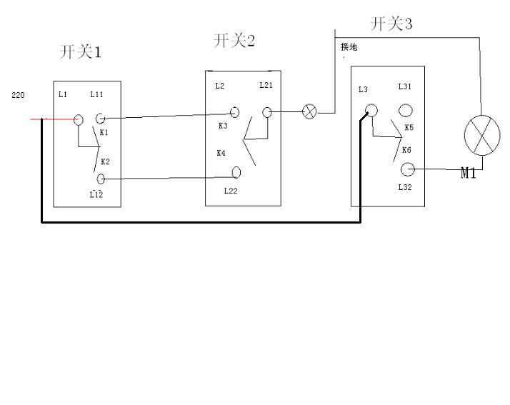 三个开关控制两个灯接线图