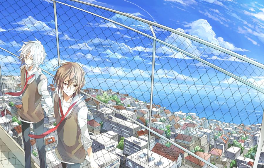 求二次元俯瞰城镇的图片,图片要以人物为主,比如在山顶或者在高处