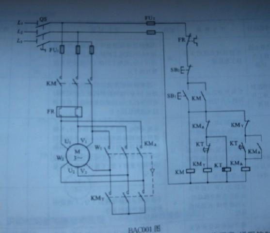 求:识读时间继电器自动控制y-△控制电路原理图 如下所示