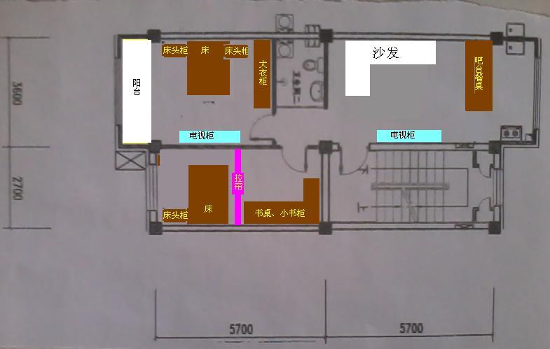 74平 客厅厨房一体 有房屋设计图