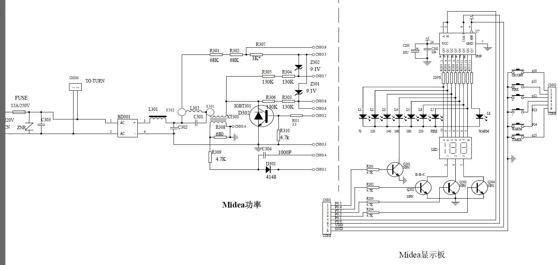 求美的mc-psd16d电磁炉电路图