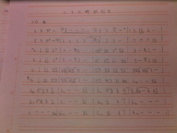 二十二桥枫别雨 的古筝曲谱,哪位大神能发给我,最好不