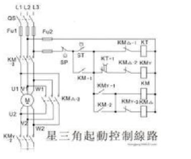 星三角降压启动电路图-y—△降压起动控制线路在以前变频器,软启动器