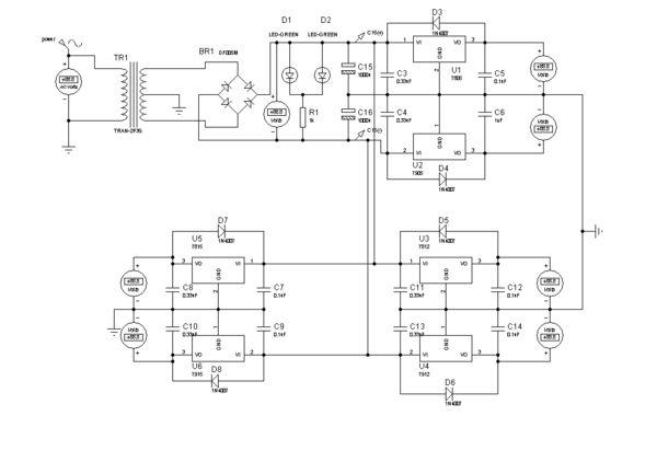 求12v,6v,3v稳压电源电路图