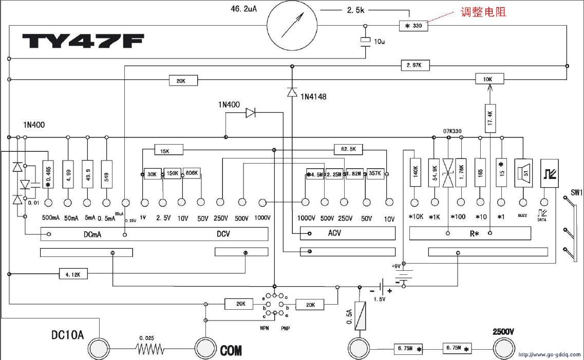 南京科华mf47f万用表的电路图 谢谢!