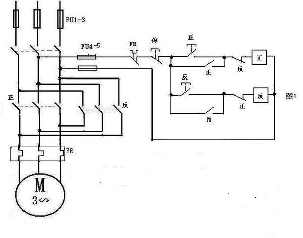 cjt1-20 交流接触器控制电机正反转的接线图