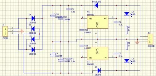 7812是三端稳压集成电路,输出 12v,最大电流1a.