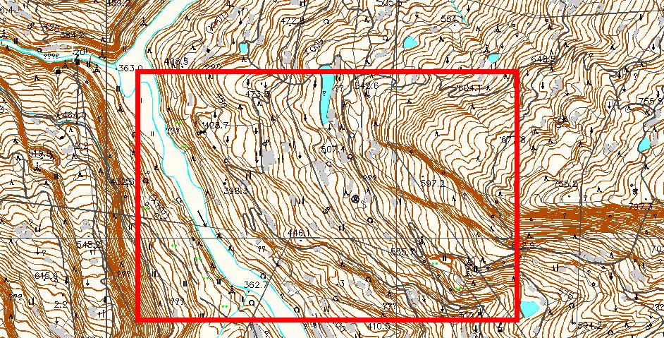 急!在下墙面CAD地形图中v墙面出方框中的cad剖面图面的图片