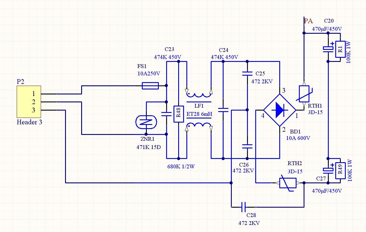 输出电压只有340多伏,当将电路从热敏电阻rth1和rth2处断开,整流桥