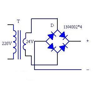 直流24伏继电器如何供电,用220v变24v的变压器,然后串联一个二极管行