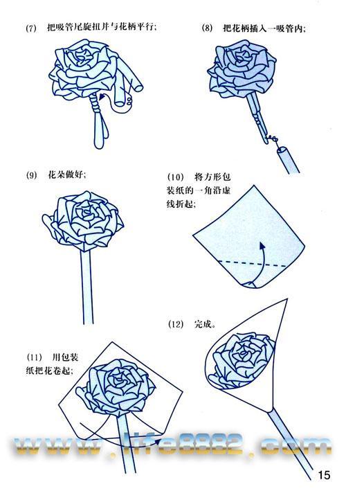 怎样用折星星的那种塑料管折玫瑰?教程要图片.