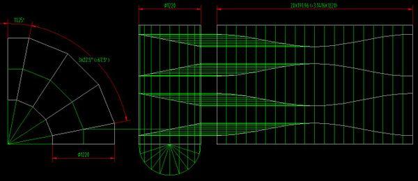 90度弯头 直径1800mm和1600mm的放样图及制作方法? 谢谢 多加分