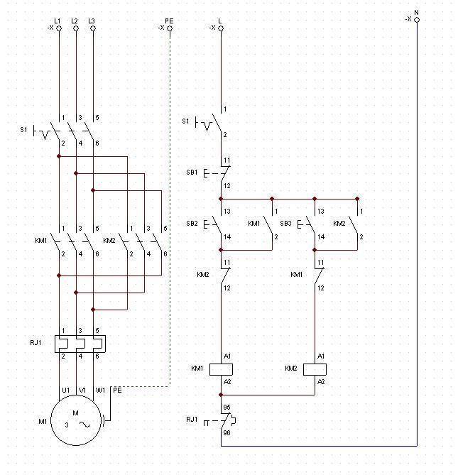 4.5kw电动机正反转控制线路并含信号指示灯绘制电气原理图