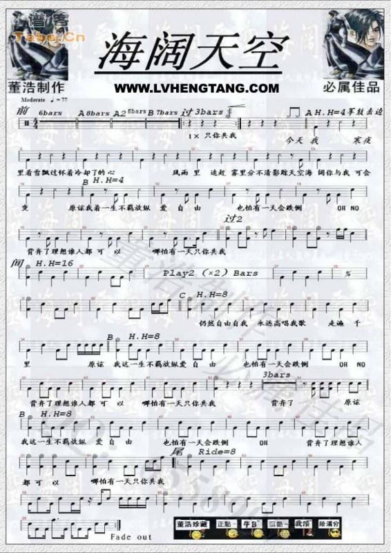 求海阔天空96年的架子鼓谱