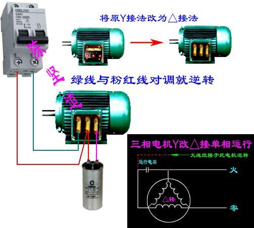 电磁开关和三相异步电动机接线方法,用的是220v的电压