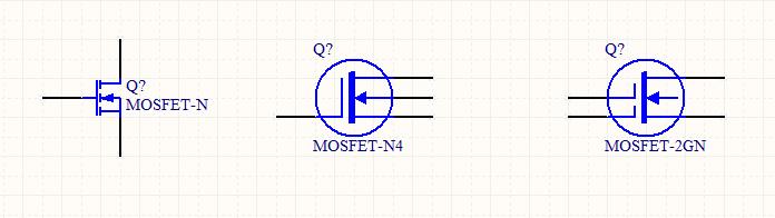 在altium designer 9 中,n沟道增强型场效应管有三种不同的形式,请问