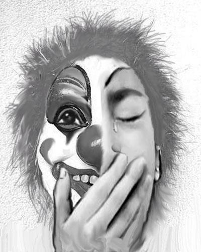 求绘画大神涂鸦一张半边脸戴个笑脸小丑面具,半边脸在
