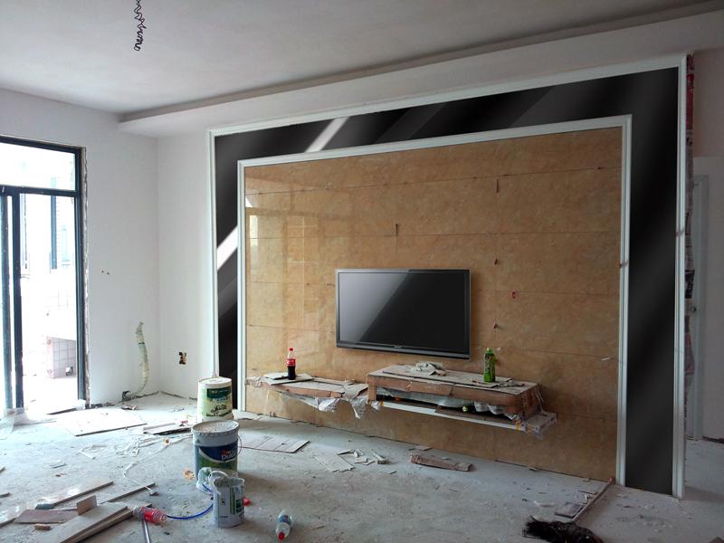 装修电视墙用微晶石配黑镜好看吗?