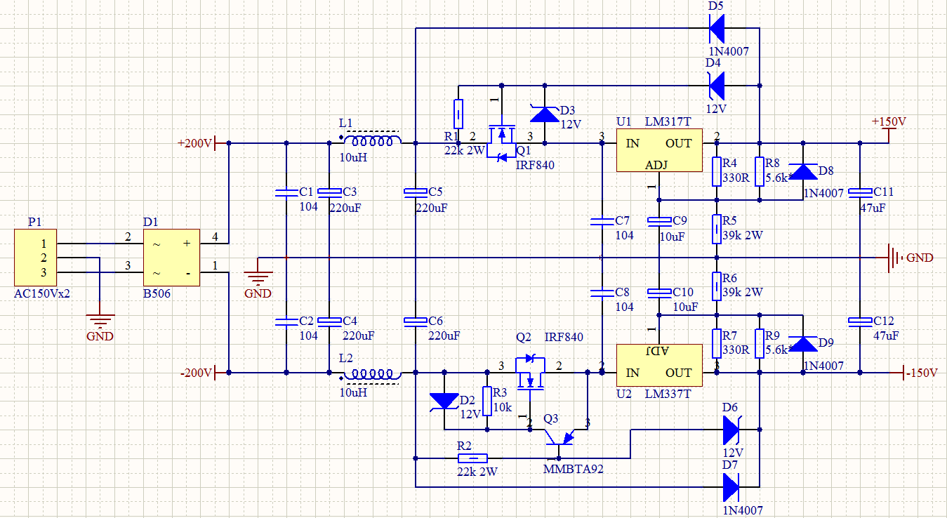 lm337可调稳压电路图