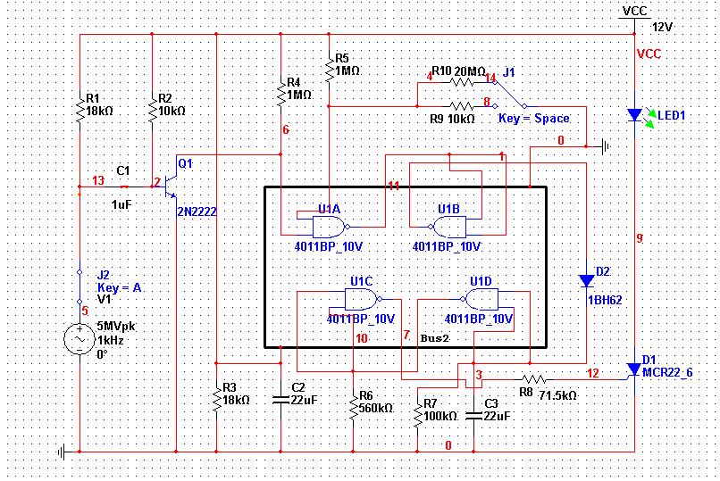 multisim10.0_声控灯,用multisim10.0电路仿真,出现错误!