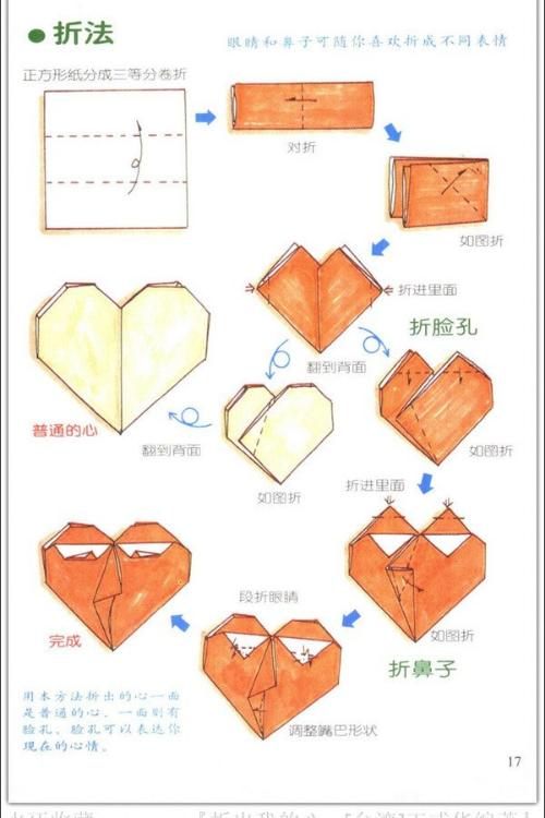 正方形纸折心形方法?