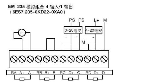 em235模块与传感器怎么接线(两线制4到20毫安)最好用图表示,小弟必重