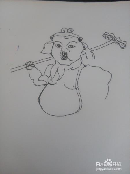 猪八戒简笔画怎么涂色?