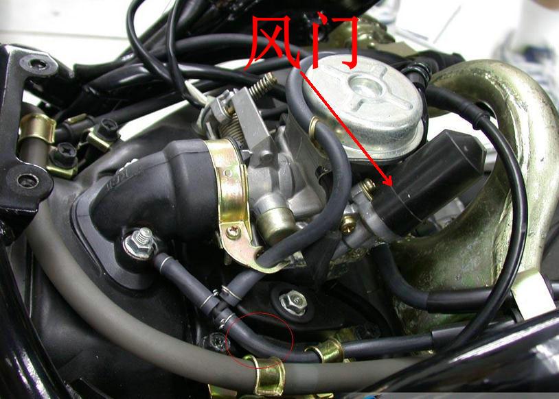 新大洲踏板摩托车阻风门在哪里图片解释