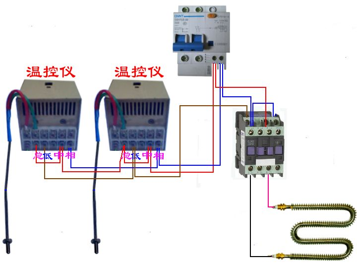 220v 温控2个{1个开最大,另1个控制温度}指示灯2个的控制箱接线图