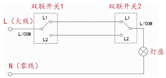一个灯·两个开关都可以控制是怎么接线?