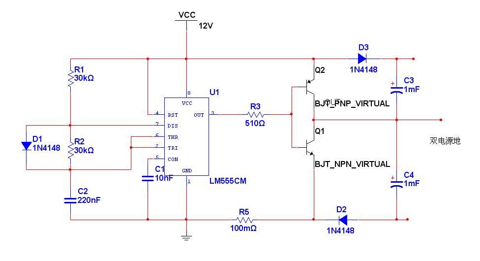 基于555的单电源变双电源电路 multisim仿真图