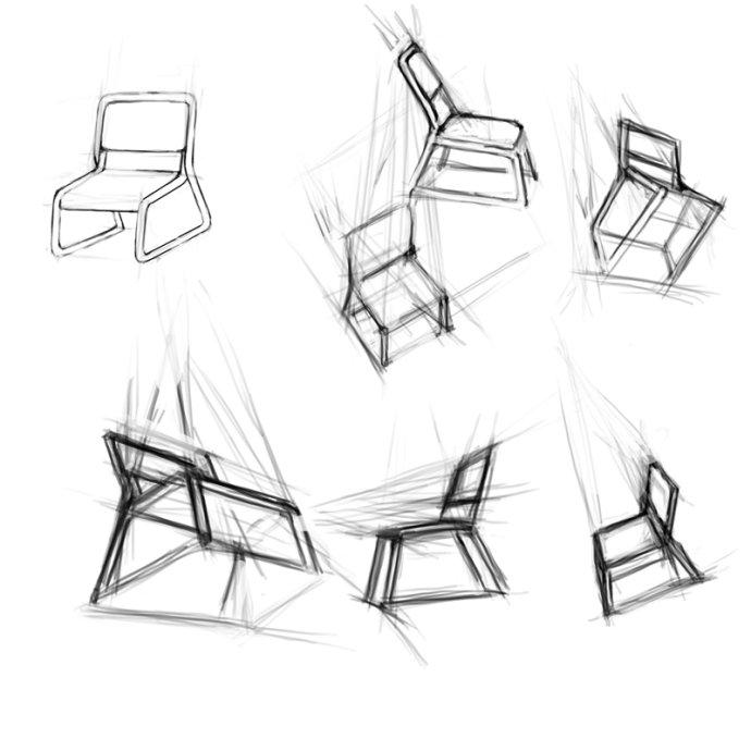 卡通椅子背面手绘