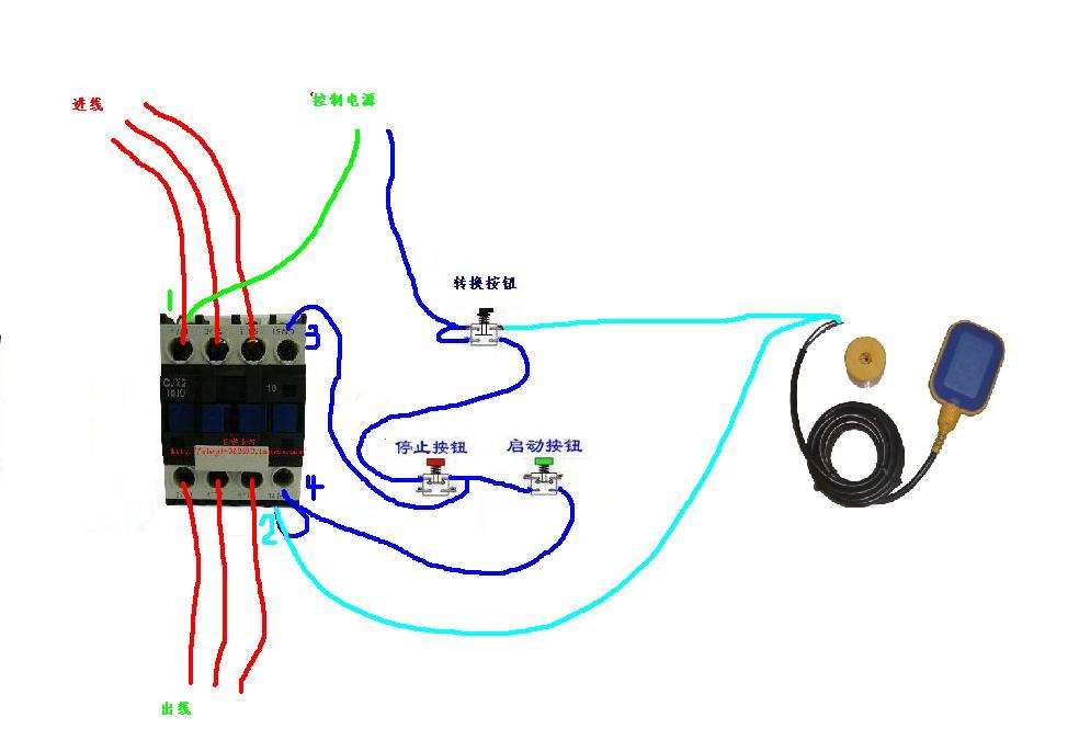 个js14p数字式时间继电器,一个辅助触头组,一个浮球微动开关怎么接线