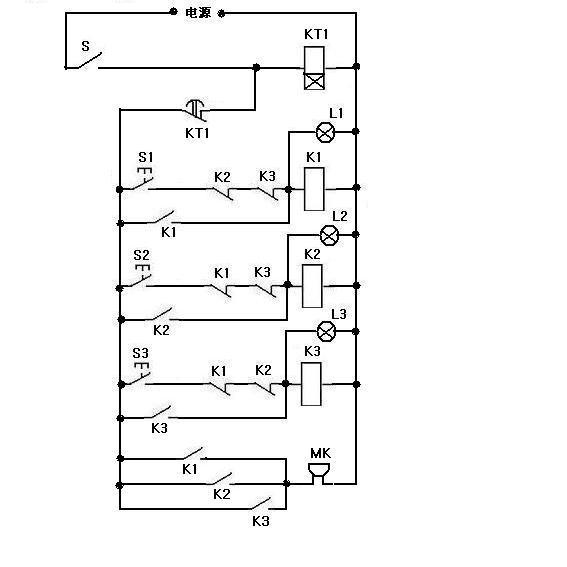 求抢答器电路图(三人使用)20