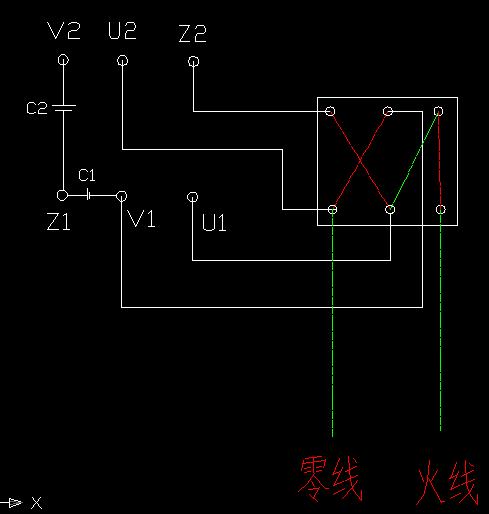 双电容单相电机正反(倒顺开关控制)基本就是这样;注意一点的是火线