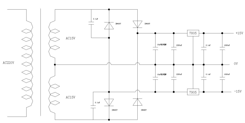 7815 7915双电源电路图