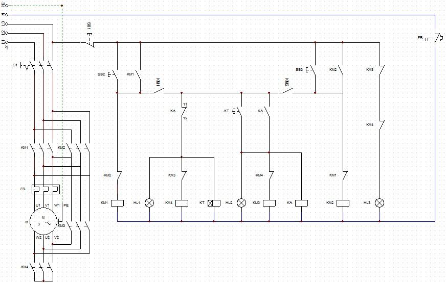求接触器连锁正反转加星三角降压起动电路图